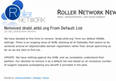 Default DNSBL Change – Roller Network Newspipe